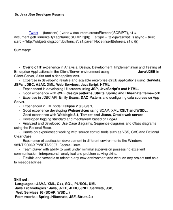 sample java developer resume