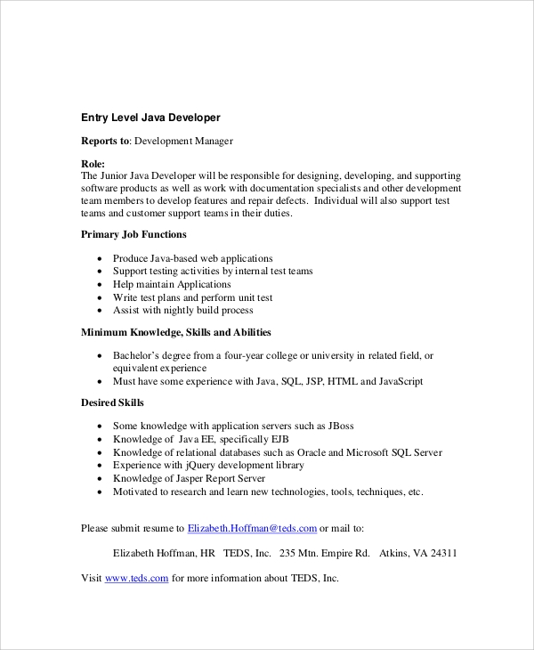 sle java developer resume 7 exles in word pdf