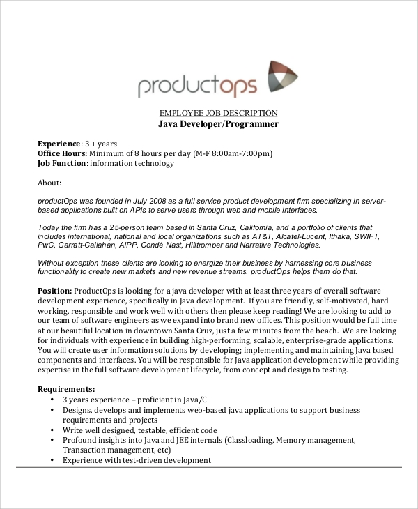 java developer job description resume
