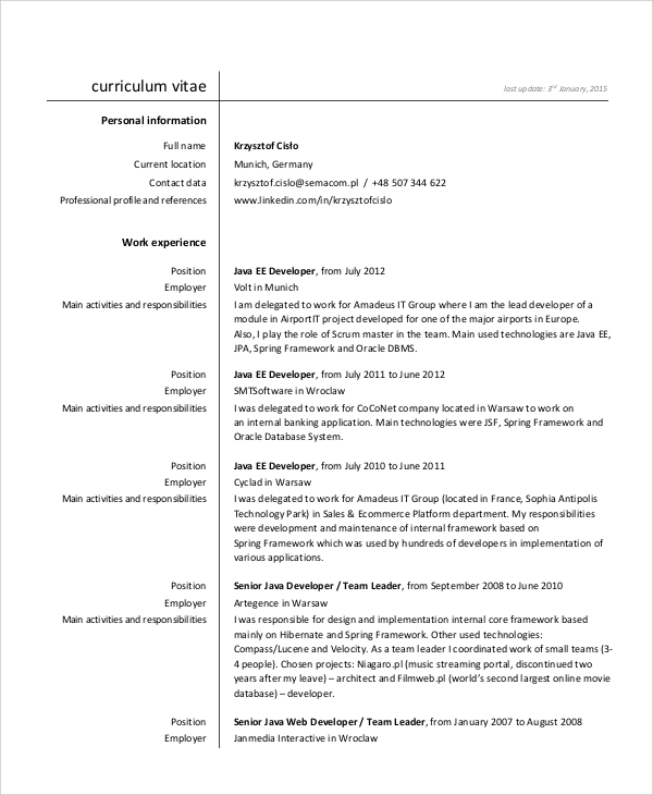 Sample Java Developer Resume Javascript 2 Full StackJava