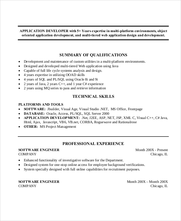 java application developer resume