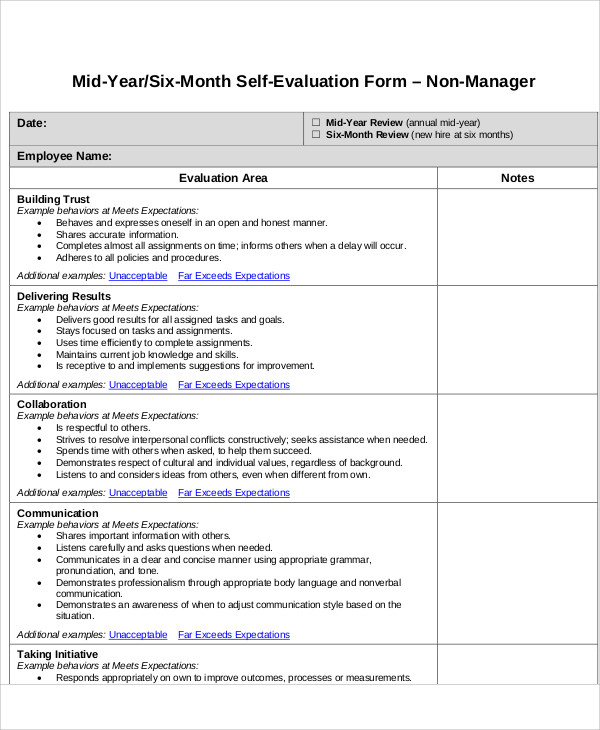 7 employee self assessment samples sample templates for Mid year review template
