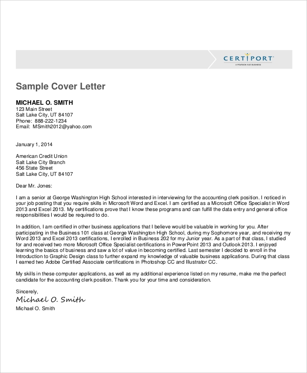 Data Entry Cover Letter Example In PDF
