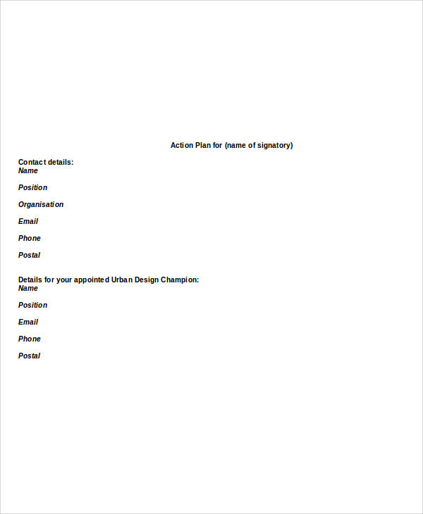 final action plan report format