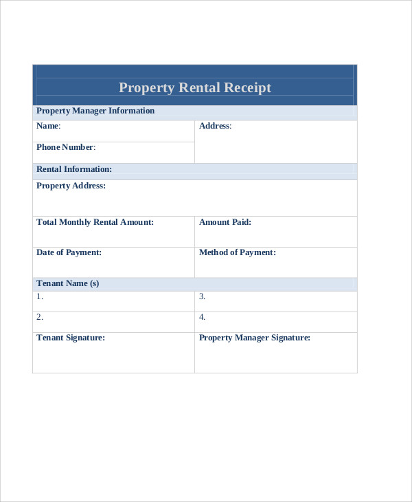 property rent payment receipt example