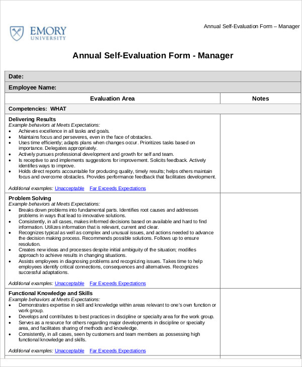 Employee SelfAssessment Samples  Examples In Word Pdf