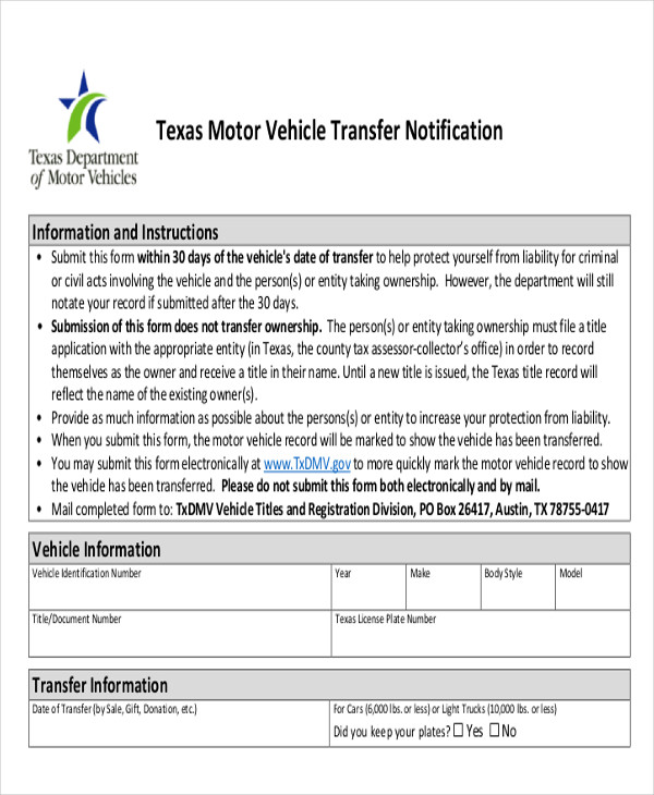 Texas Vehicle Transfer Notification >> Sample Dmv Release Form 10 Examples In Word Pdf