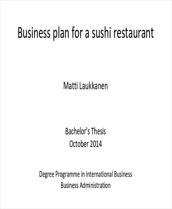 Sample Restaurant Business Plan  Examples In Word Pdf