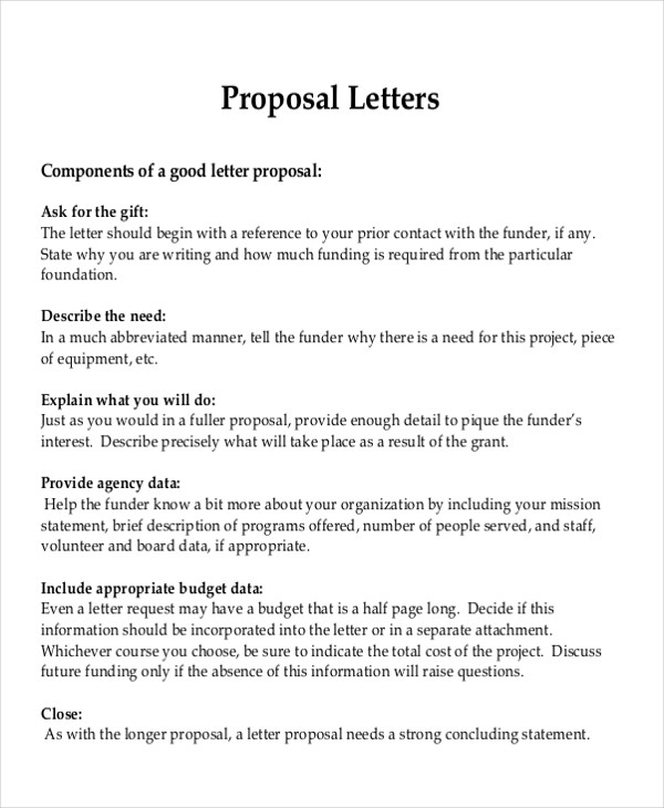 Sample Formal Proposal Letter   Example In Pdf Word