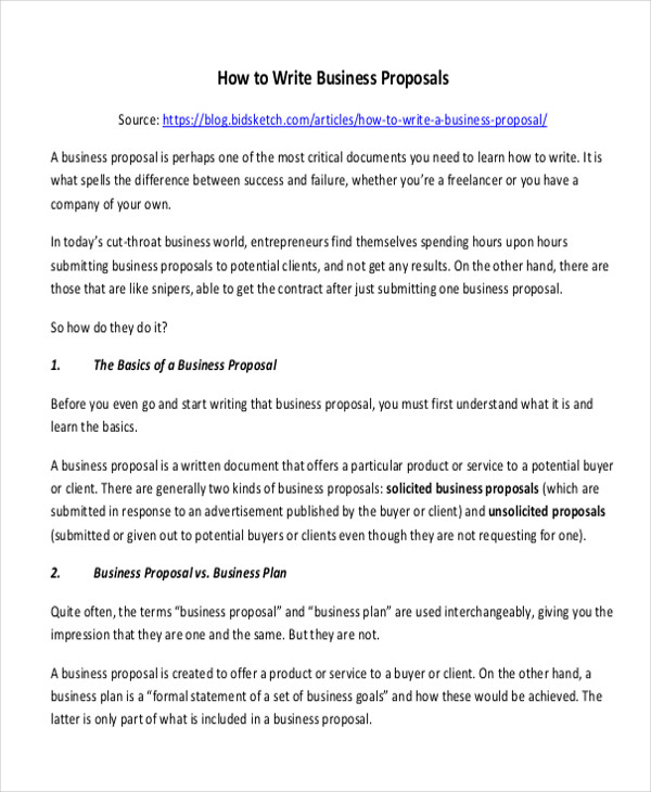 business proposal format sample