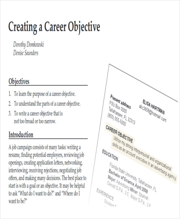 Career Objectives Sample  Examples In Word Pdf