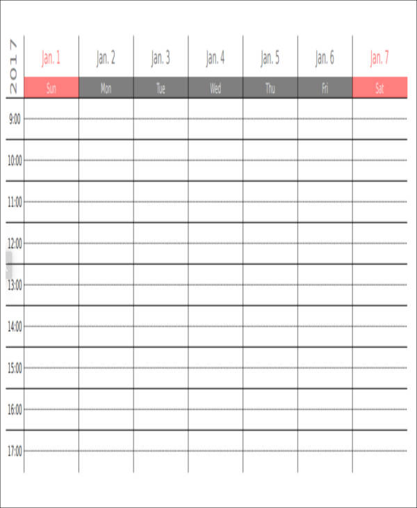 free weekly appointment planner sample