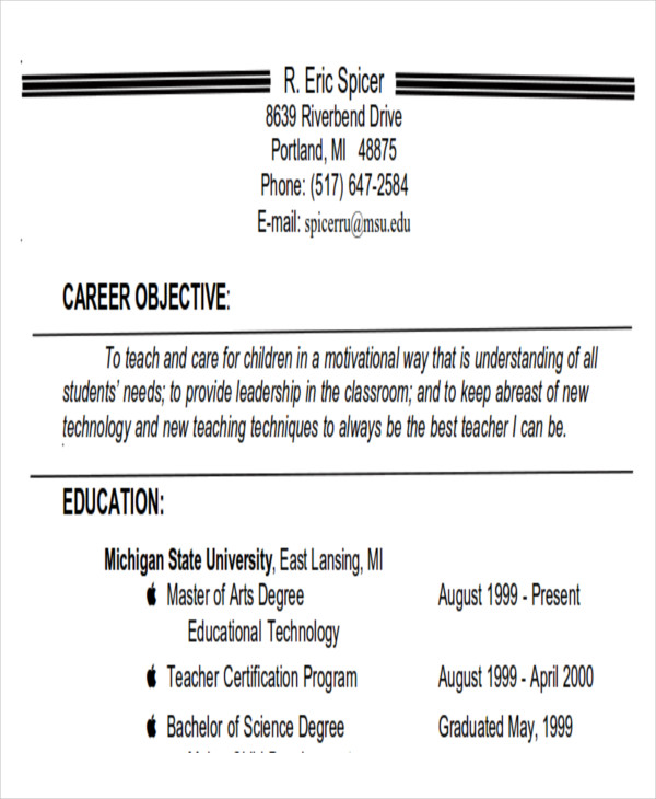 free 7  career objectives samples in ms word
