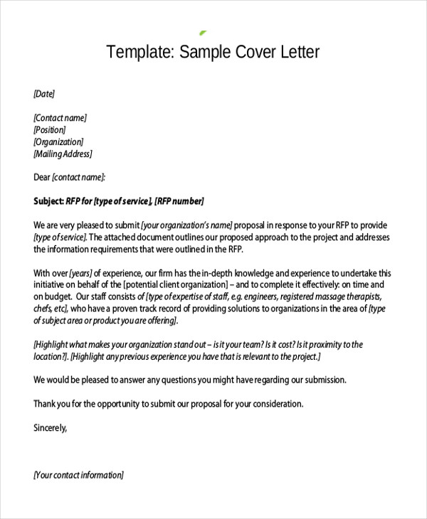 Doc Proposal Cover Letters Proposal Cover Letters Rfp