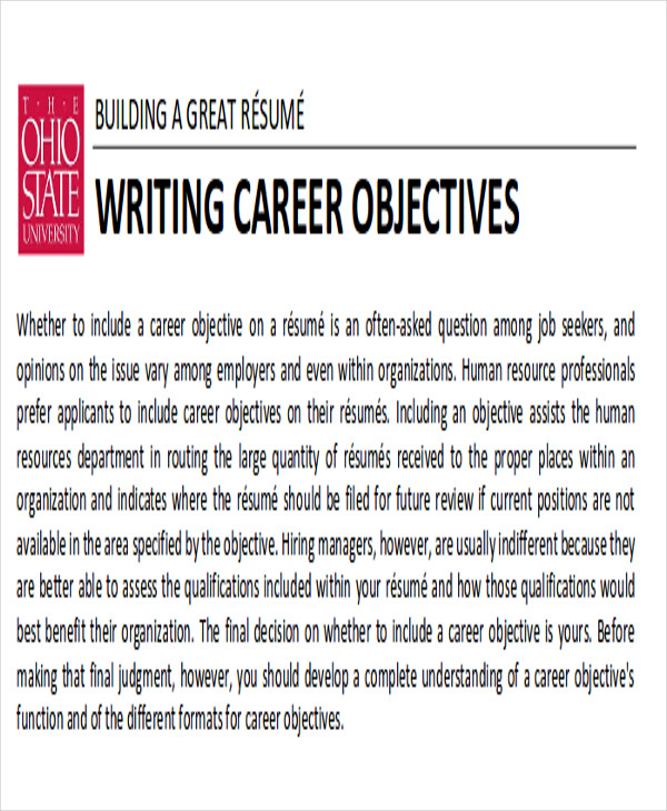 career objective sample