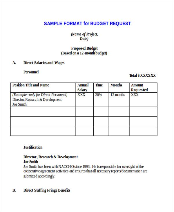 formal budget proposal letter