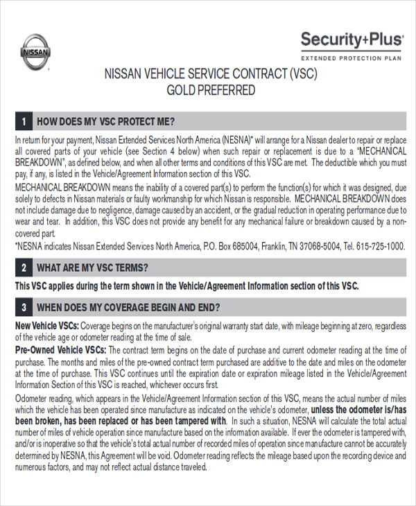 Vehicle Service Contract Sample 10 Examples in Word PDF – Service Contract Format