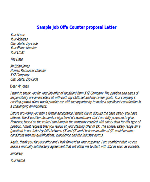 Job Offer Counter Proposal Letter
