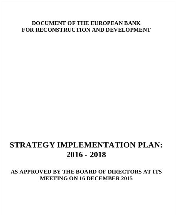 strategic implementation plan sample