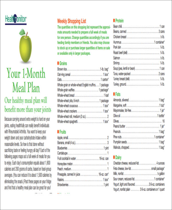 monthly menu planner example