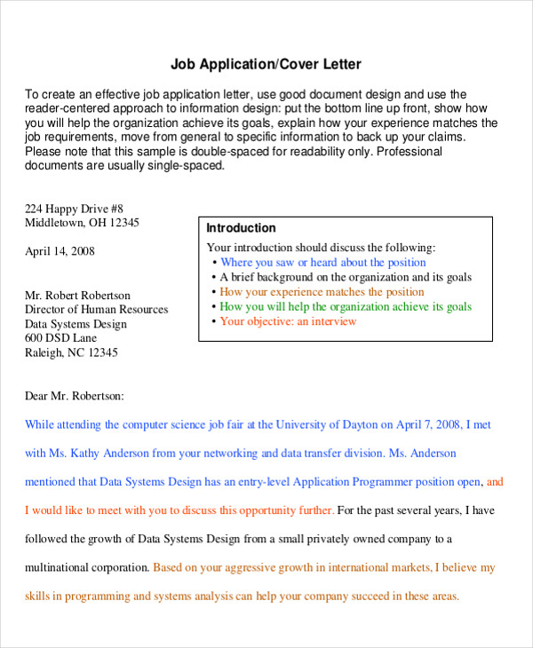 sample professional cover letter for job application
