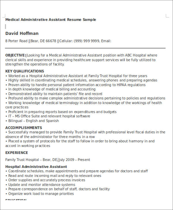 Medical Administrative Assistant Resume Objective  Administrative Resume Objective