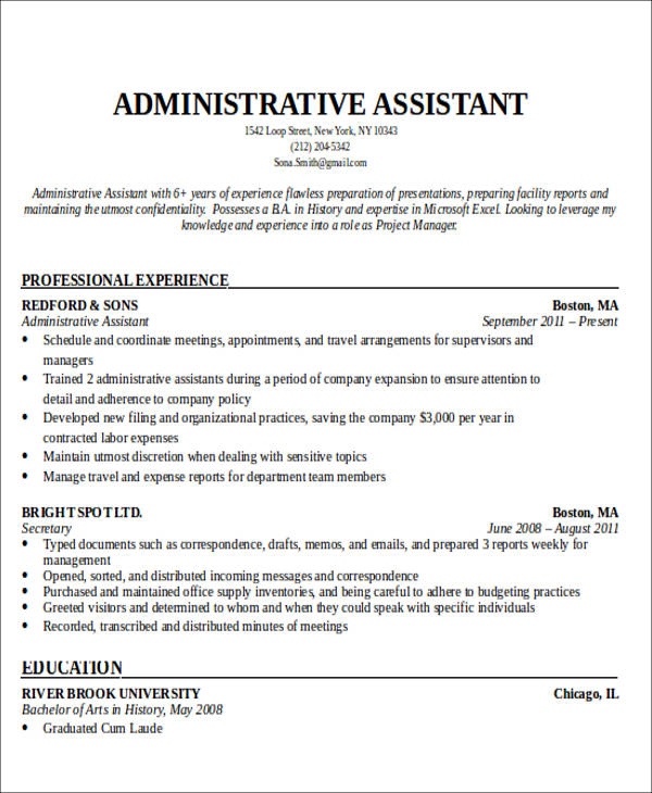 Administrative Assistant Resume Objective 6 Examples in Word PDF – Resume Objectives for Administrative Assistants
