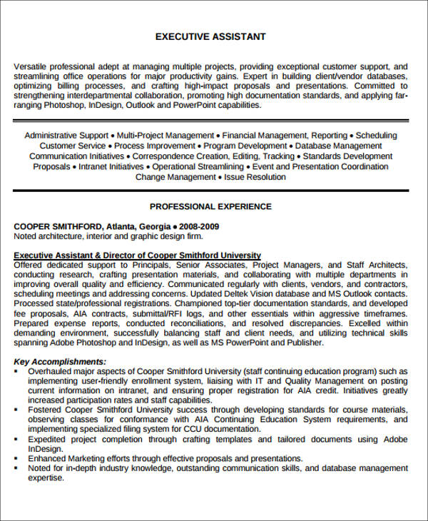 Administrative Assistant Resume Objective   Examples In Word Pdf