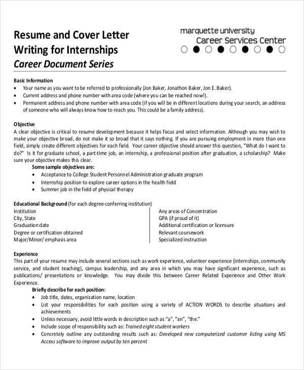 professional cover letter for internship