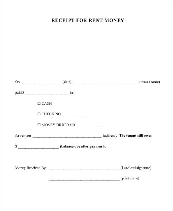 money received receipt format