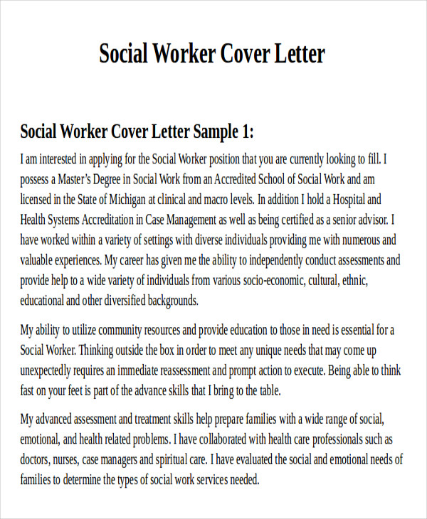 Sample Social Worker Cover Letter  Free Sample Example