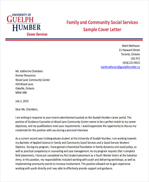 7 sample social worker cover letters sample templates for Cover letter for community service worker