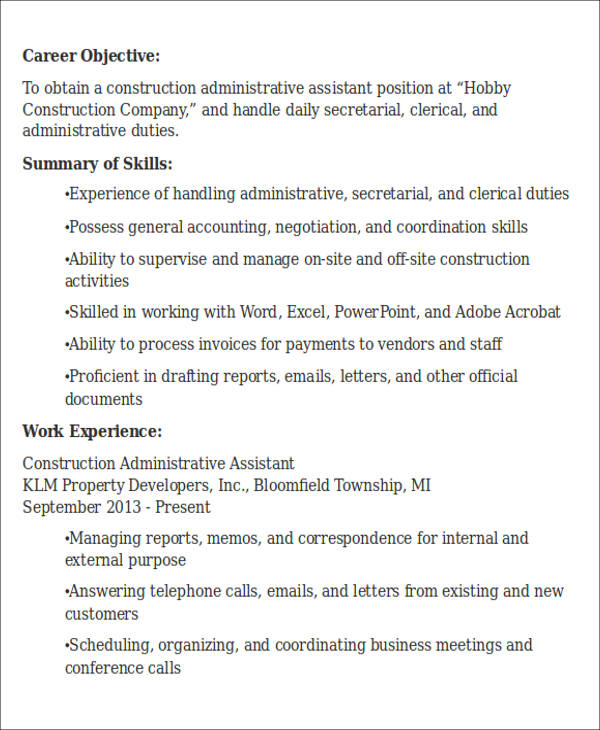 Construction Administrative Assistant Resume Objective