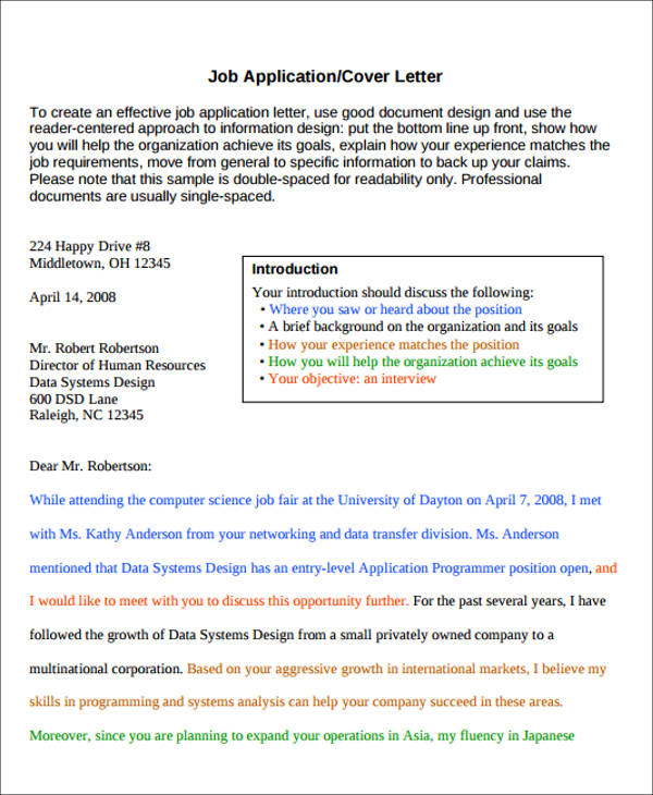 job cover letter enclosure sample - Application Cover Letters