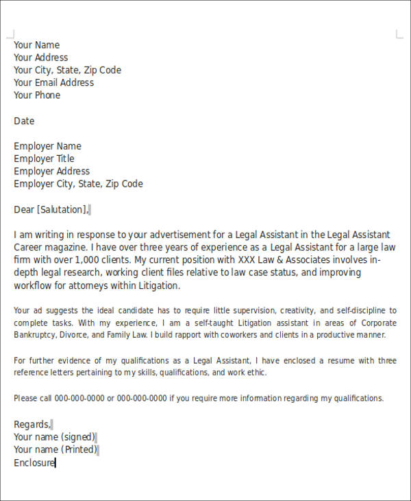 Legal Cover Letter Enclosure Example