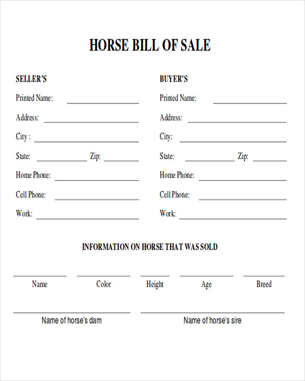 equine bill of sales
