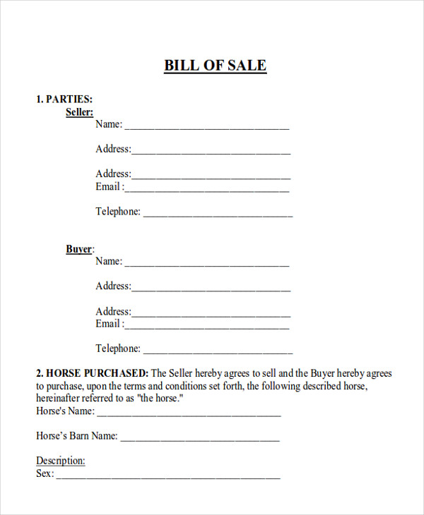 Horse Bill Of Sale  Examples In Word Pdf