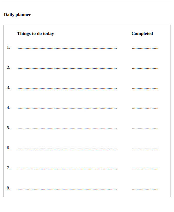 day to day planner example free