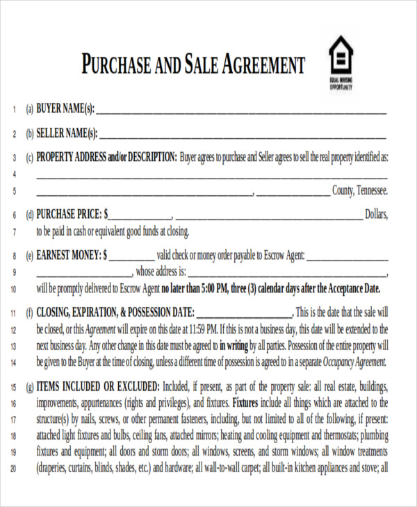 real estate purchase contract pdf