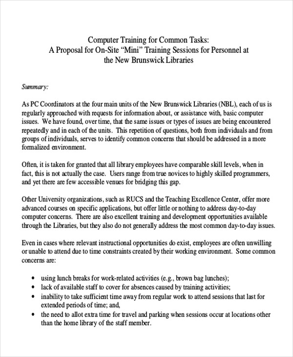 Sample Training Proposal Letter   Examples In Pdf Word