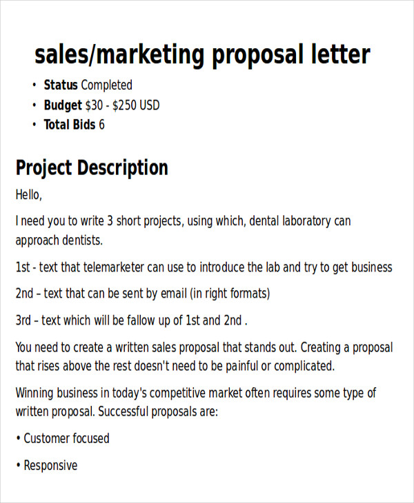Sample Marketing Proposal Letter   Examples In Pdf Word