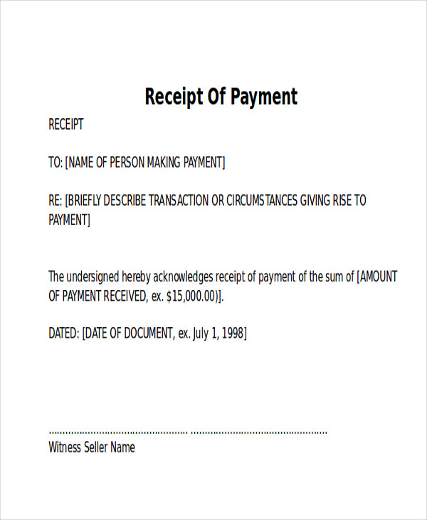 8 receipt of payment letters pdf sample templates for Cash confirmation template
