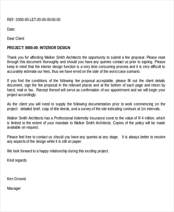 interior design project proposal letter