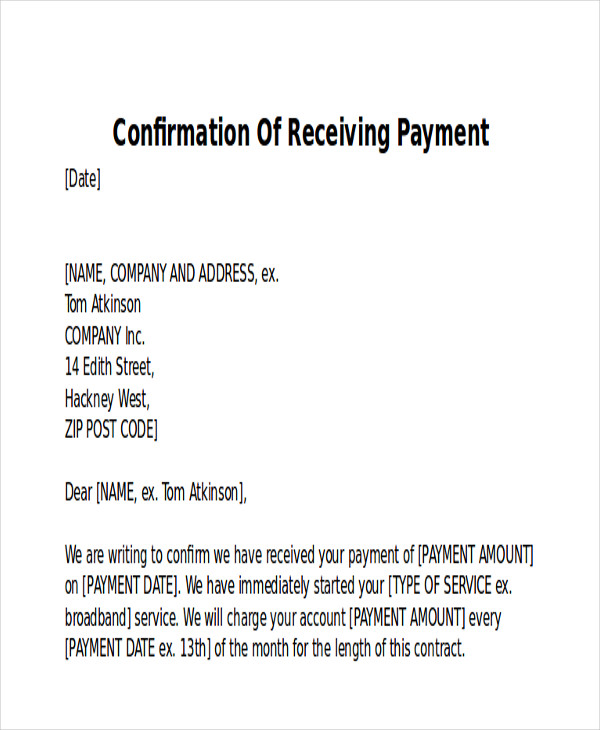 8 receipt of payment letters pdf sample templates for Confirmation of payment template