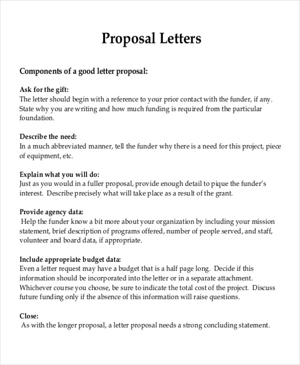Sample Project Proposal Letter  Examples In Word Pdf