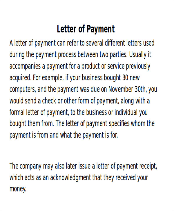 7+ Receipt of Payment Letters – PDF | Sample Templates