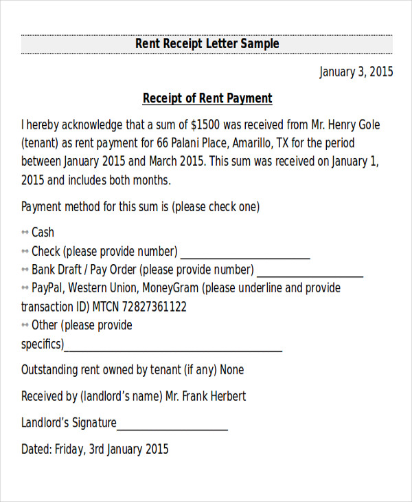 Receipt Of Payment Letter For Rent  How To Write A Receipt For Rent