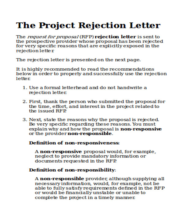 project proposal rejection letter