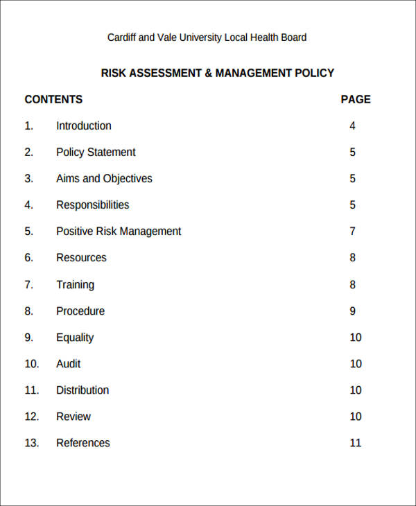 sample mental health risk assessment