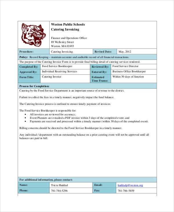 Free Catering Invoice  Catering Invoices